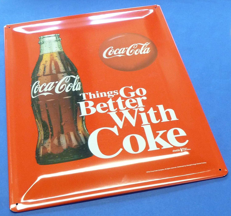 Retro máxima de cartel de chapa Coca Cola Botella Tamaño 30 ...