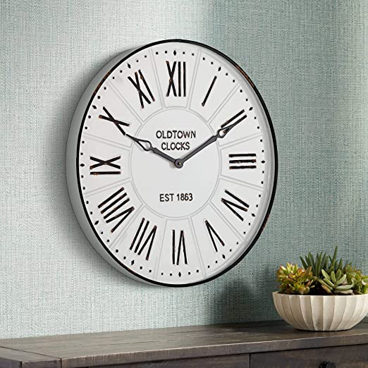 """Clock Dial Roman Numerals Metal 6/"""" Round with 5 1//2/"""" Time Ring USA made"""