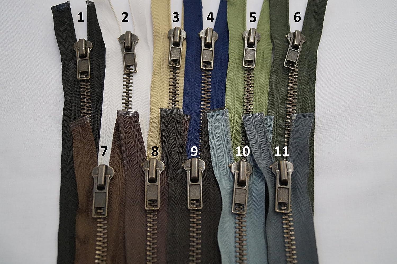 FIM, cerniera brunita, in metallo, 51cm–89cm, con dentatura n. 8, divisibile, utilizzabile per giacche di cuoio, 1–Nero (322), 1 - schwarz (322), 51 cm 51cm-89cm 1-Nero (322)