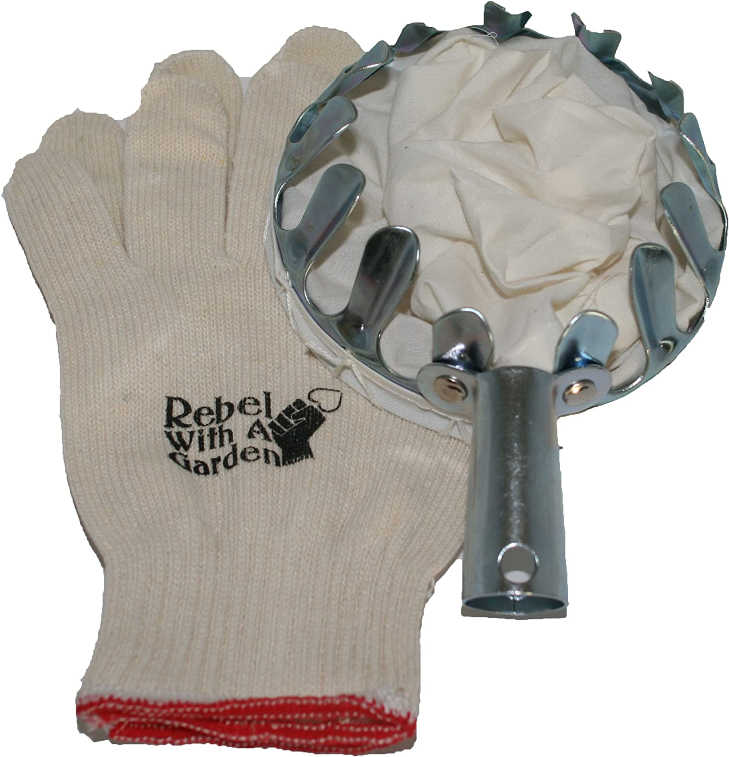 Rebel With A Garden Long Armed Rebel Fruit Picker Basket Tool for Picking Apples, Peaches, Pears, Plums and Apricots with Bonus Cotton Gloves
