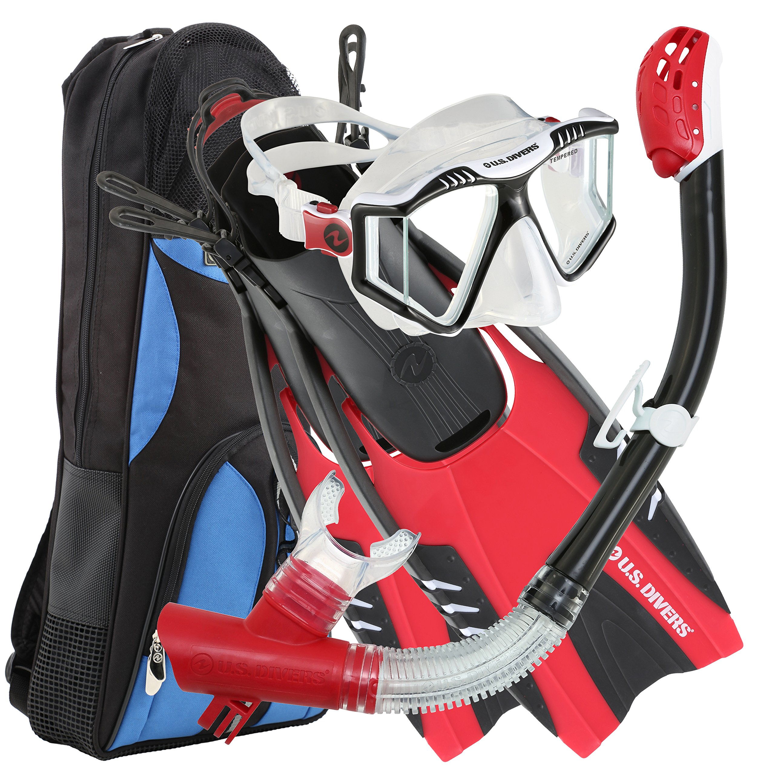 U.S. Divers Lux Platinum Snorkeling Set - Panoramic View Mask, Pivot Fins, GoPro Ready Dry Top Snorkel + Gear Bag, Black and Red L/LX by U.S. Divers