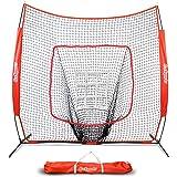 GoSports 7' X 7' Baseball & Softball Practice Hitting & Pitching Net with Bow Frame, Carry Bag and Bonus Strike Zone…