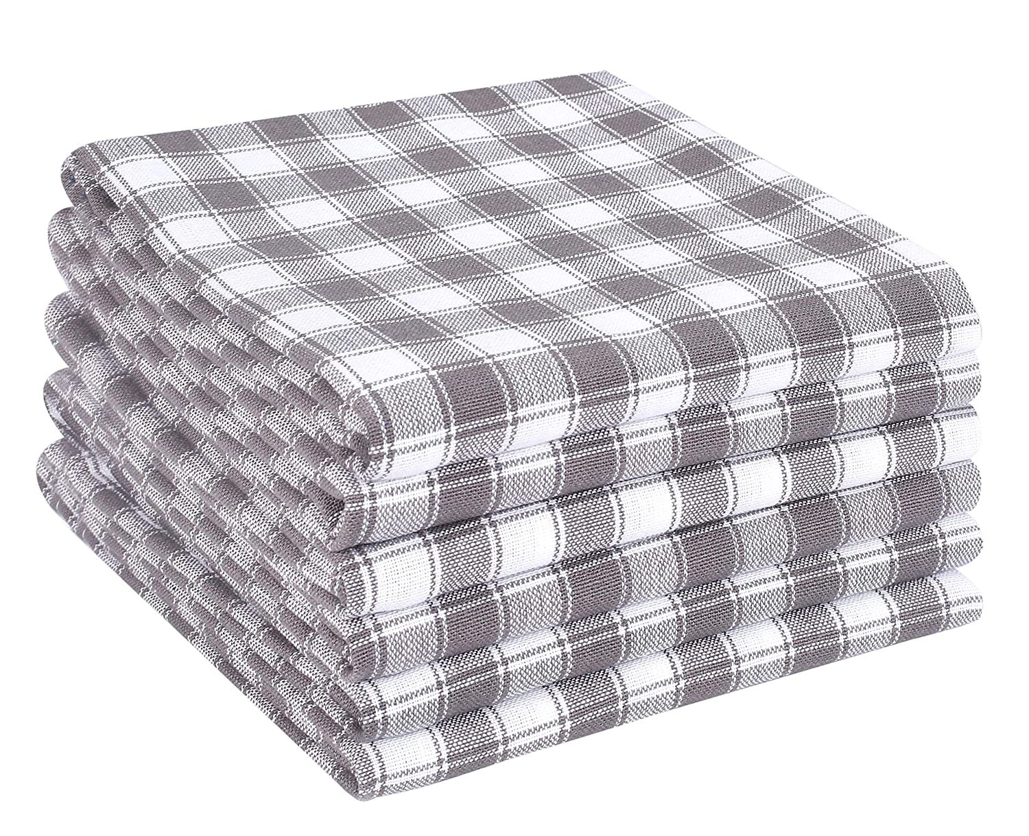 Grey and white kitchen towels