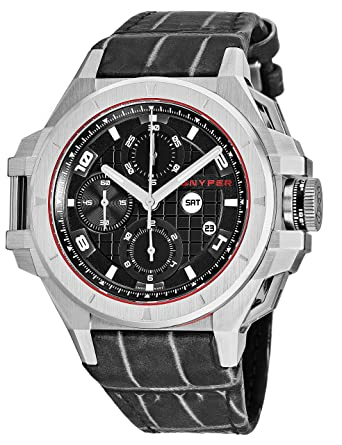 865d6f0e2 Snyper Ironclad Stainless Steel Mens Automatic Chronograph Watch Leather  Band - 44mm Analog Black Face with