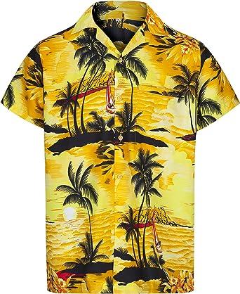 Redstar Fancy Dress - Camisa Hawaiana de Manga Corta - para Hombre - Aloha Verano - Todas Las Tallas - Amarillo - XXL: Amazon.es: Ropa y accesorios