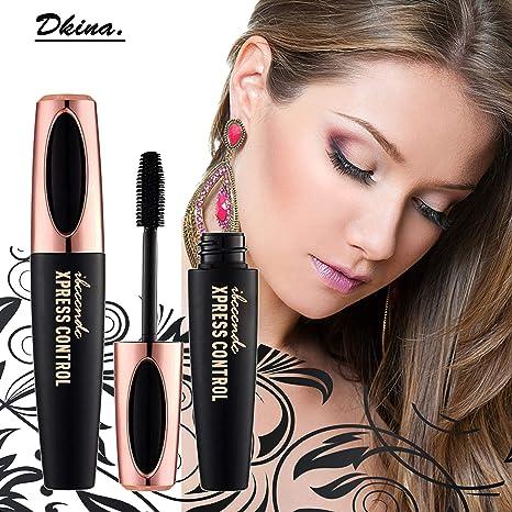 Dkina Máscara de Pestañas 4D, Mascara crema maquillaje pestañas impermeable, Silk Fiber Intensivo larga