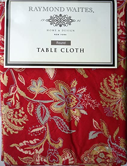 Charmant Raymond Waites Fabric Tablecloth Holiday Christmas Red Gold Floral Pattern  70 Inches Round