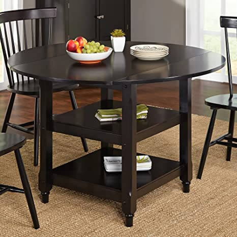 ModHaus Living Modern 48 inch Round Cottage Country Dining Table with Two  Shelves - Includes Pen (Black)