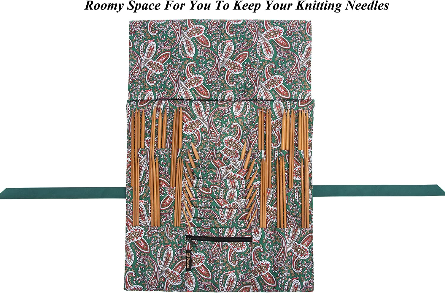 Green NO Accessories Included Pacmaxi Foldable Knitting Needles Storage Case Up to 14 Inch Rolling Knitting Needles Holder for Straight and Circular Knitting Needles