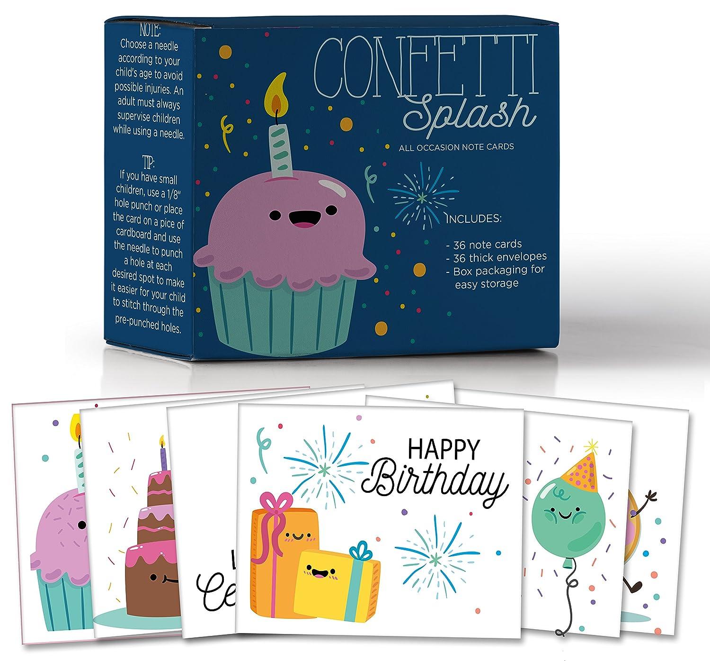 Amazon Confetti Splash Assorted Birthday Sewing Note Cards