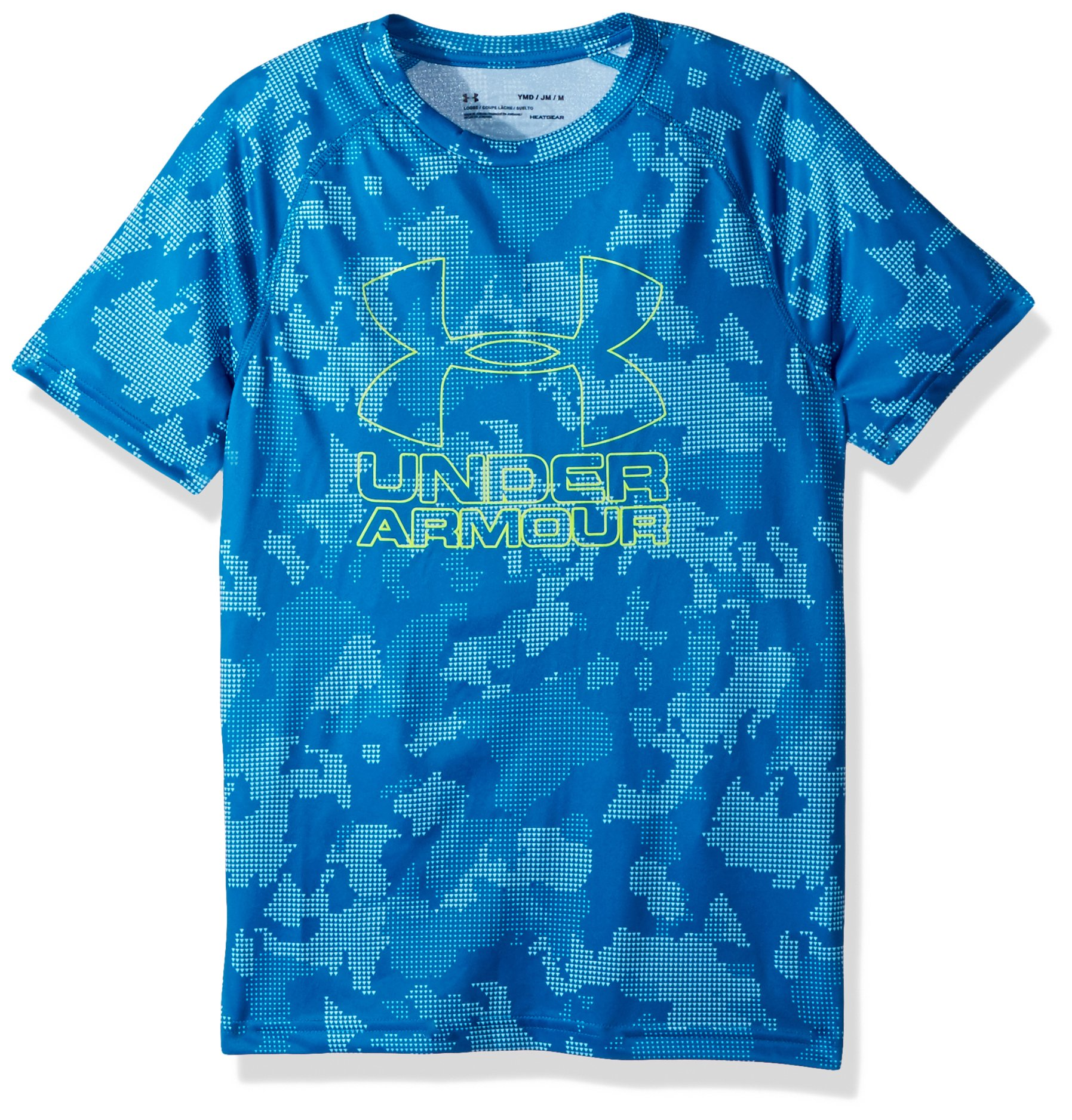 Under Armour Boys Big Logo Printed T-Shirt,Cruise Blue /Quirky Lime, Youth X-Small