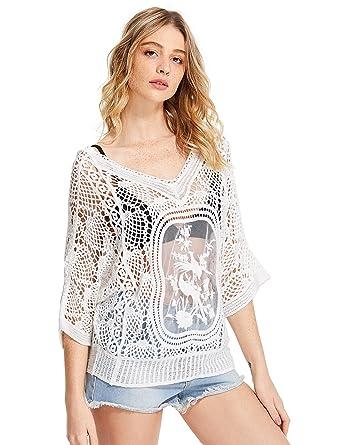 a610b7a79fe Milumia Women s V Neckline Crochet Lace Beach Cover Up Top Medium White
