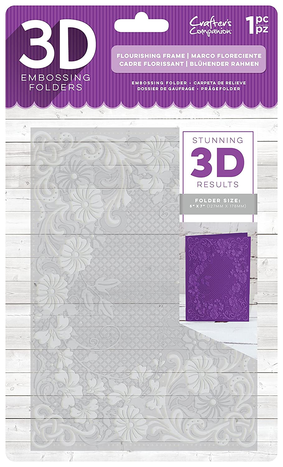 Die'sire EF5-3D-FLFR 3D Embossing Folder, Clear Crafter' s Companion
