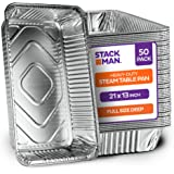 "Aluminum Foil Pans - 21""x13"" Full-Size Deep [50-Pack] Heavy-Duty Steam Table Pan - Disposable Roasting Pan - Premium Catering"