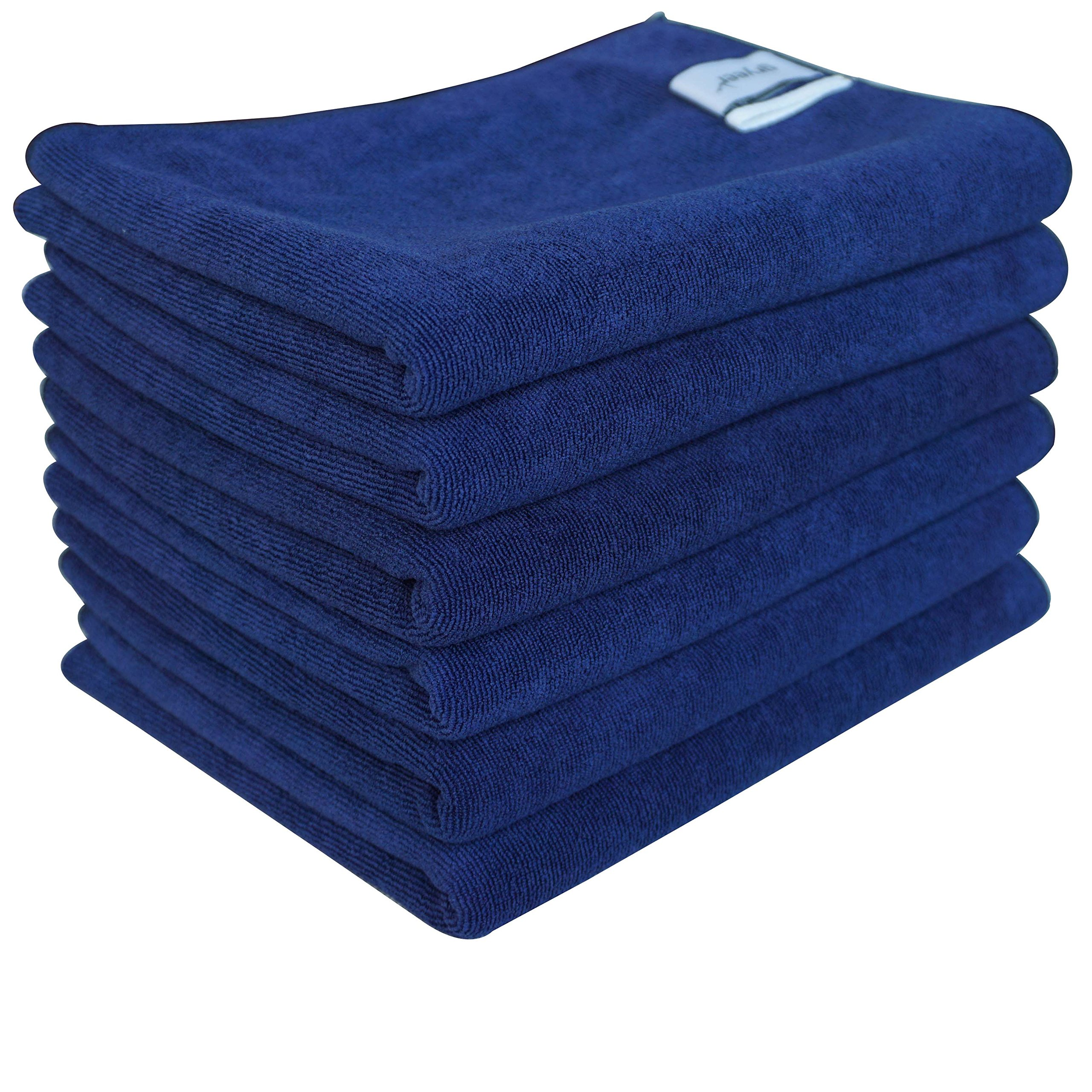 Gryeer Microfiber Kitchen Towels - Highly Absorbent, Soft and Lint Free Dish Towels, 26x18 Inch, Pack of 6, Blue