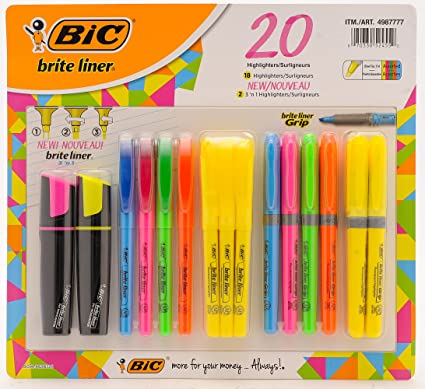 12pcs Bic briteliner Highlighter Pen in Box     Yellow