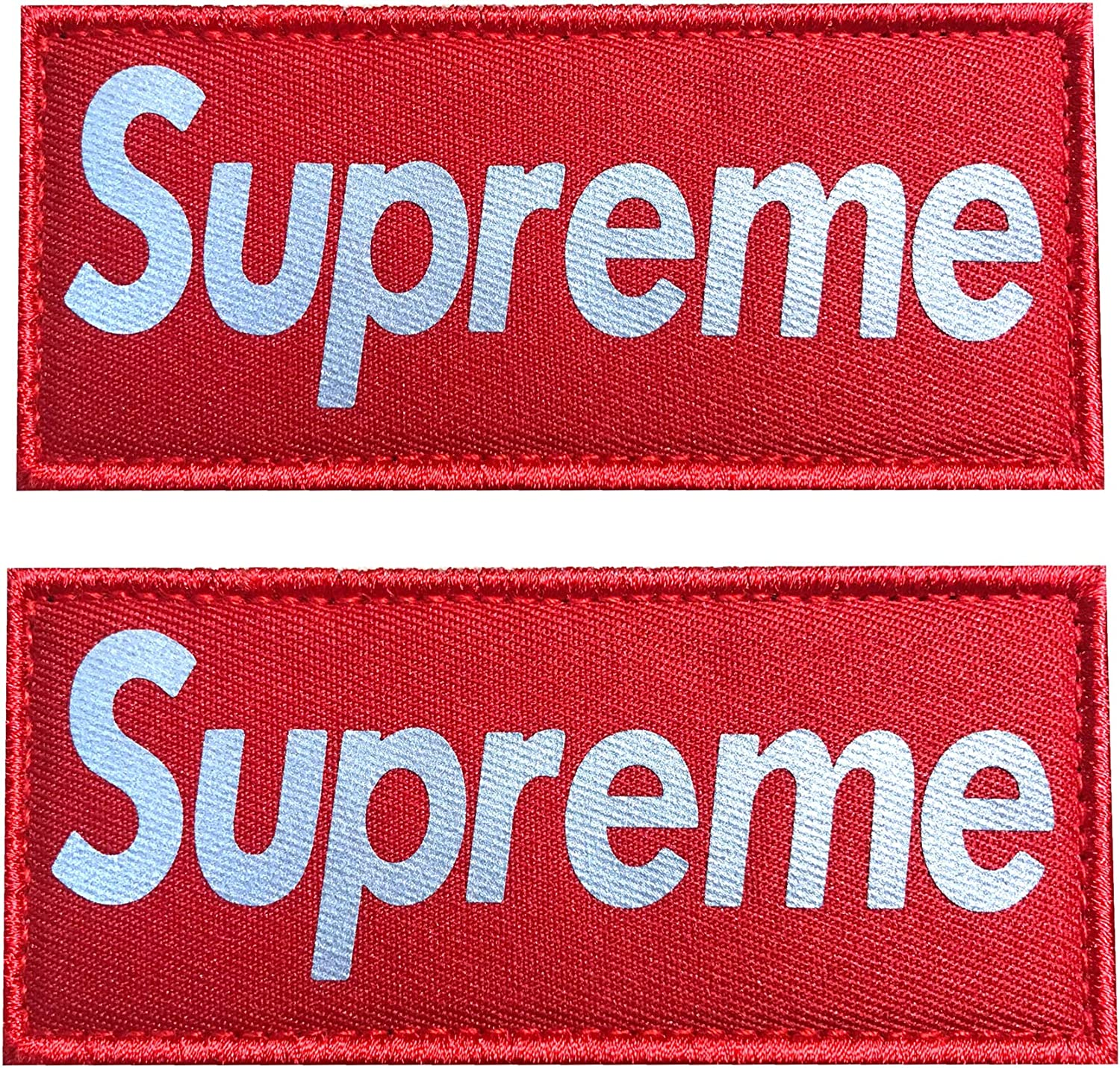 Red Hannah fit 4.5x2 Inch Reflective supreme Patch with Hook and Loop 2 Pack