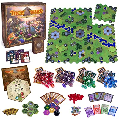 Wiz Dice Dice Wars: Heroes of Polyhedra Tabletop Fantasy Strategy Game, 2-4 Players - Giant Custom Dice & Infinite Replayability - Tactical Wargame with Modular Hex Grid Tiles & Unique Polyhedrals: Toys & Games