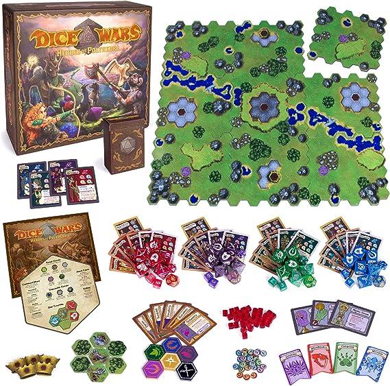 Wiz Dice Dice Wars: Heroes of Polyhedra Juego de Estrategia de fantasía para Mesa, 2-4 Jugadores, Dados Gigantes y Valor de reproducción Infinita: Amazon.es: Juguetes y juegos