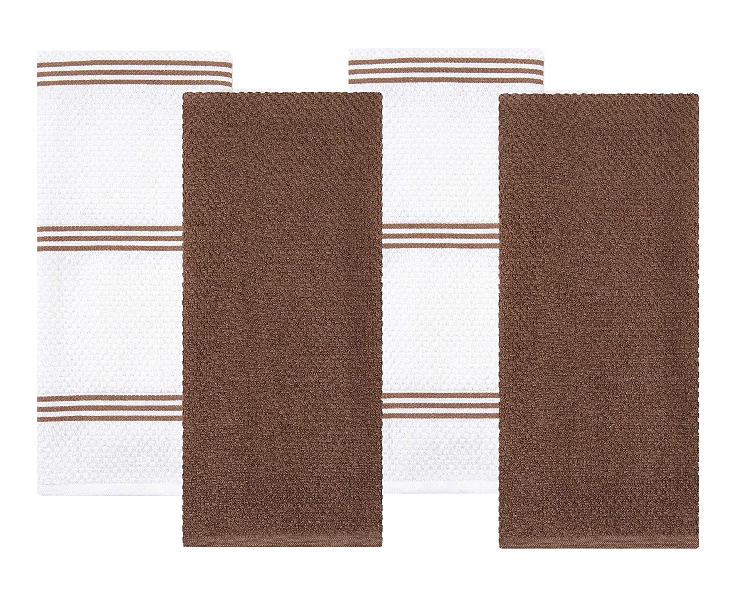 Sticky Toffee Cotton Terry Kitchen Dish Towel, Brown, 4 Pack, 28 in x 16 in