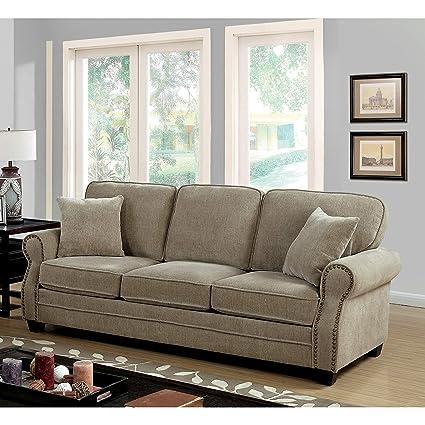Amazon.com: Furniture of America Balerina Transitional Brown ...