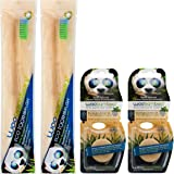 Woobamboo! Eco-Friendly Biodegradable, Sustainable, Stylish Bamboo Toothbrush and Floss Bundle, 2 Adult Standard Handle Bamboo Toothbrushes, 2 Eco-Awesome Biodegradable Silk Floss Duo Pack