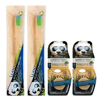 WooBamboo ecológico biodegradable, sostenible, elegante cepillo de dientes de bambú y Floss Bundle,