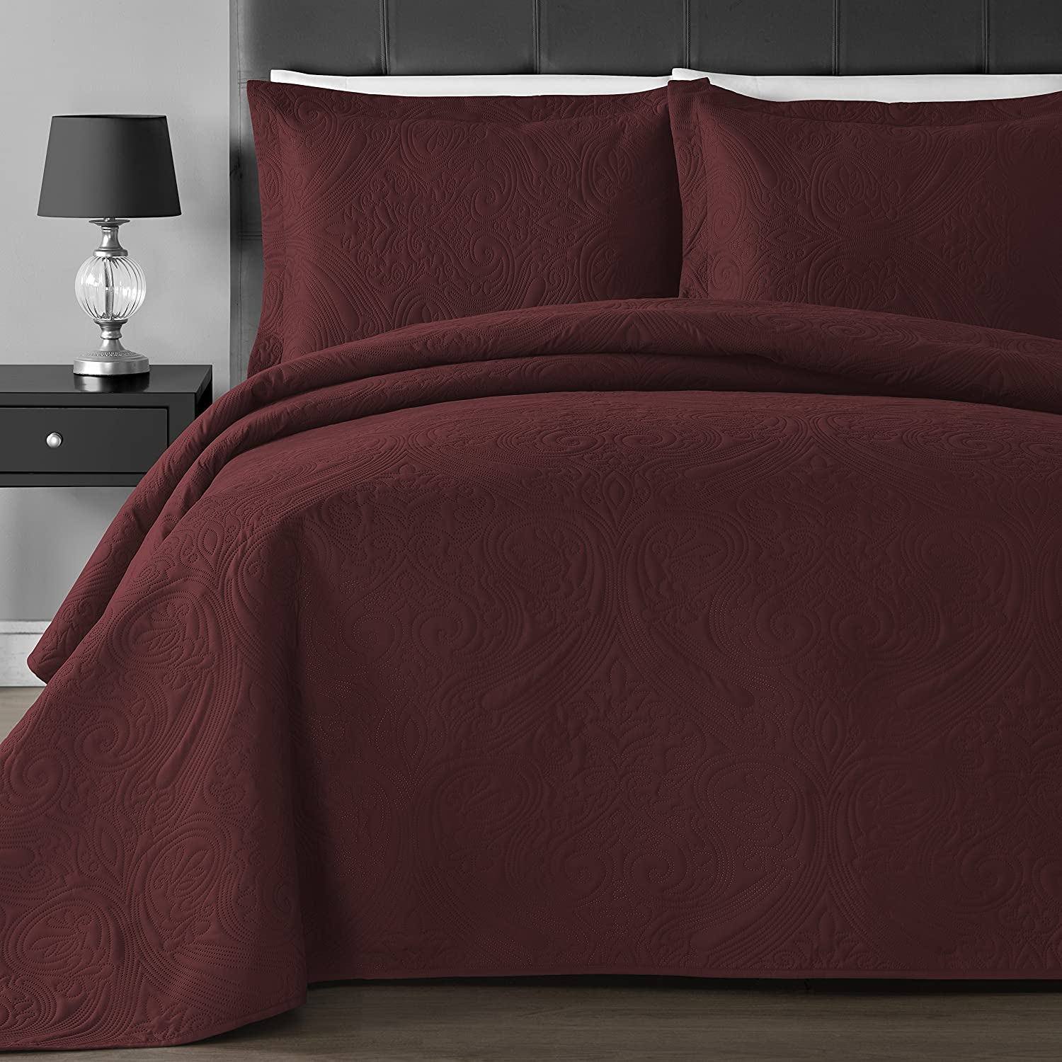Comfy Bedding Extra Lightweight and Oversized Thermal Pressing Floral 3-piece Coverlet Set (King/Cal King, Burgundy) B06XH9BFTX King/Cal King|バーガンディー バーガンディー King/Cal King