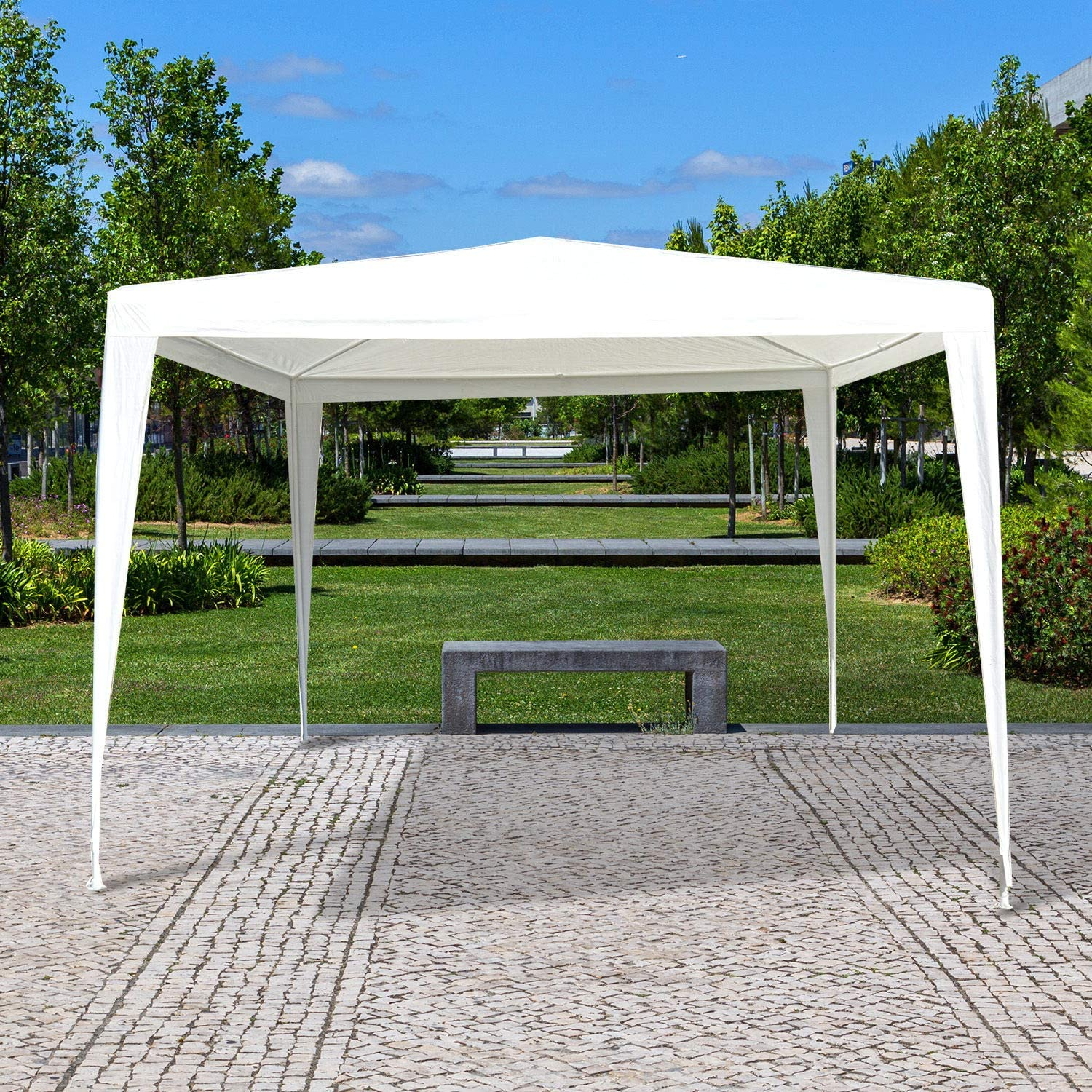 Outsunny Carpa Impermeable de Jardín Acero Oxford Blanco 3x3m ...