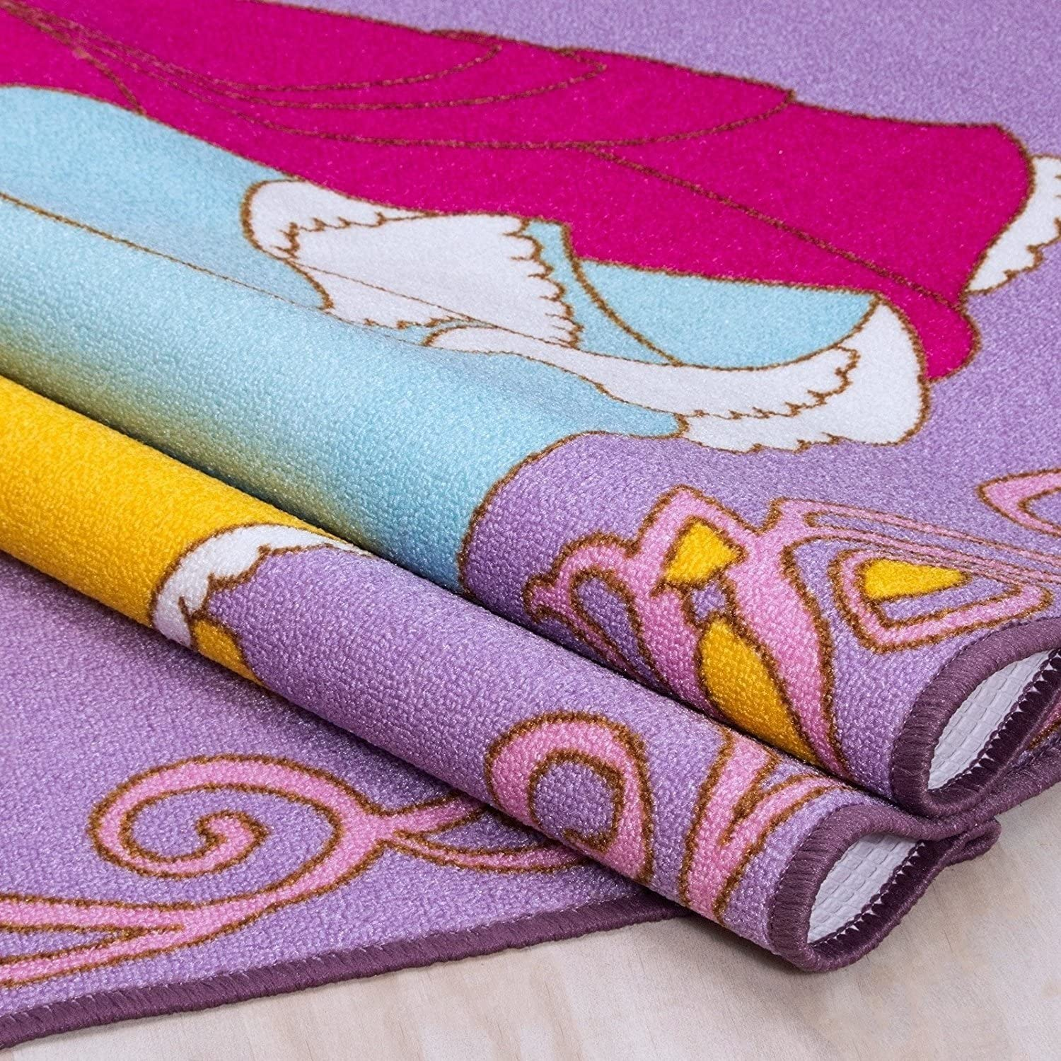 Princess Playtime Collection Fun Educational Disney Style Area Rug Girls Bedroom Carpet Play Mat Bright Colorful Vibrant Colors 3 Feet X 5 Feet
