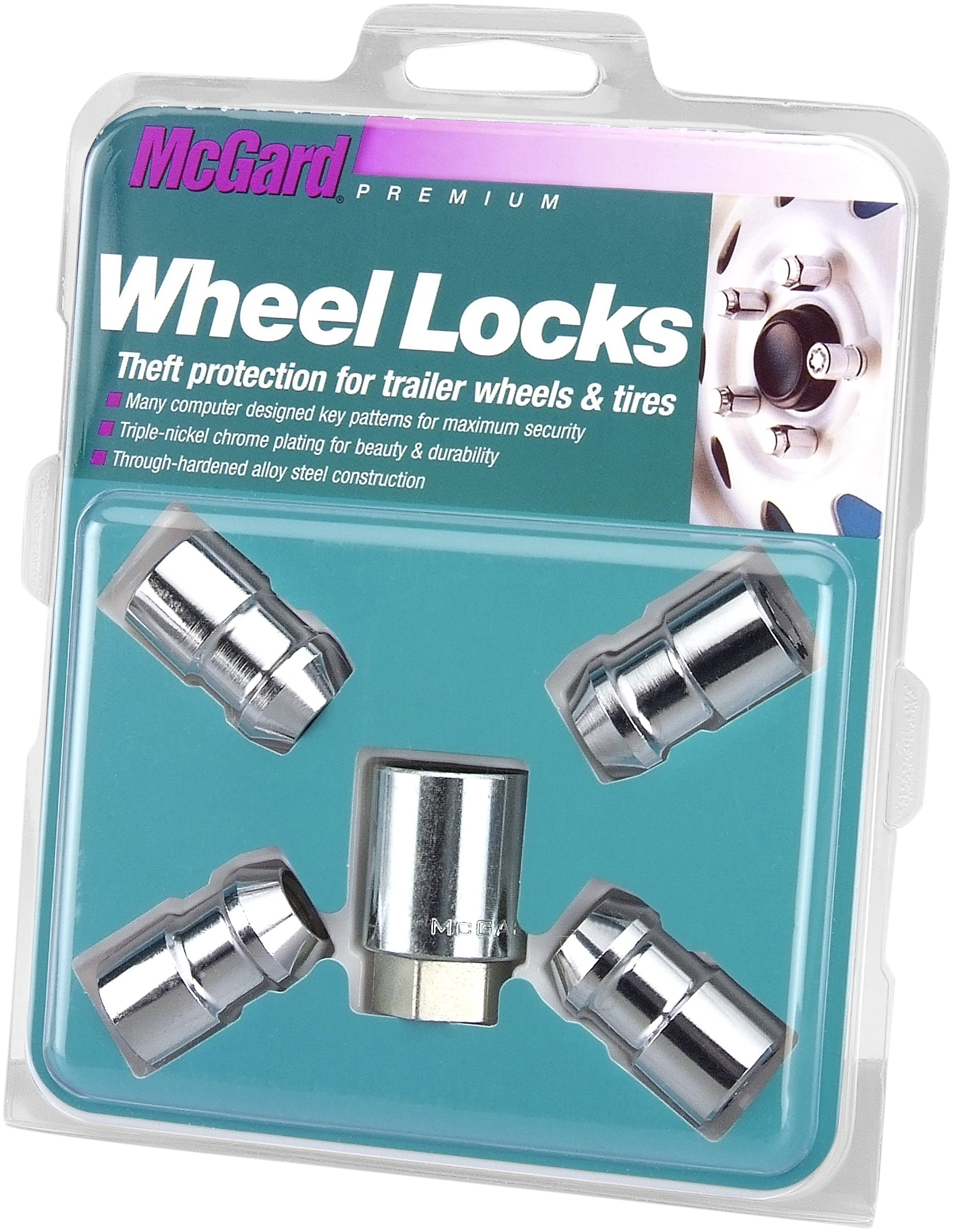McGard 74041 Chrome Cone Seat Trailer Wheel Locks (1/2-20 Thread Size) - Set of 4