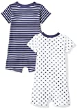 Moon and Back Baby Set of 2 Organic Rompers, Navy