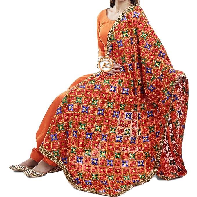 Amazon.com: Phulkari Traje con Dupatta por Silk Route/Jam ...