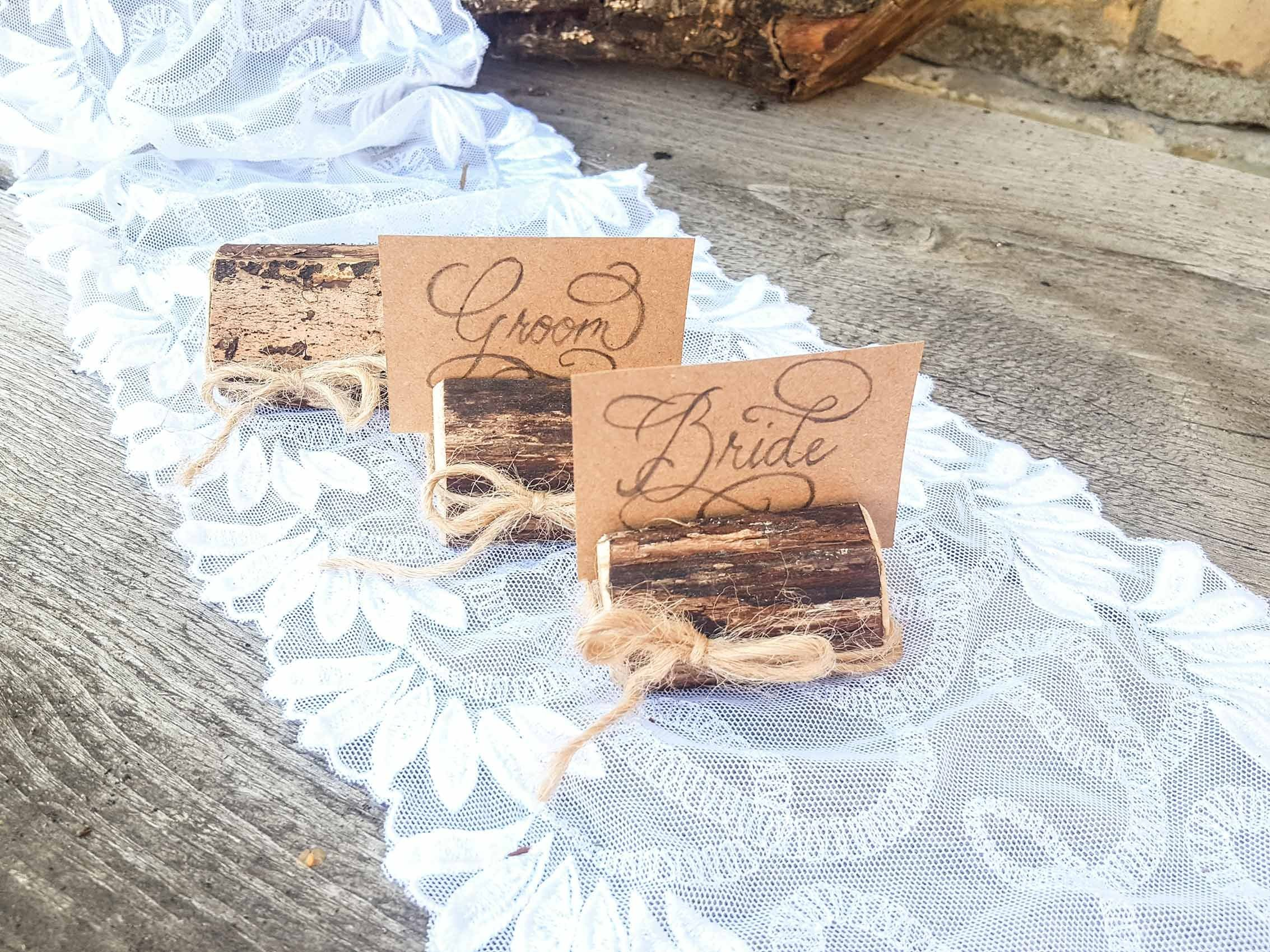 Set of 100 place card holders, name card holders, rustic wood card holder, country style card holder, 100 card holders, deciduous tree branch card holders, rustic chic, natural card holders