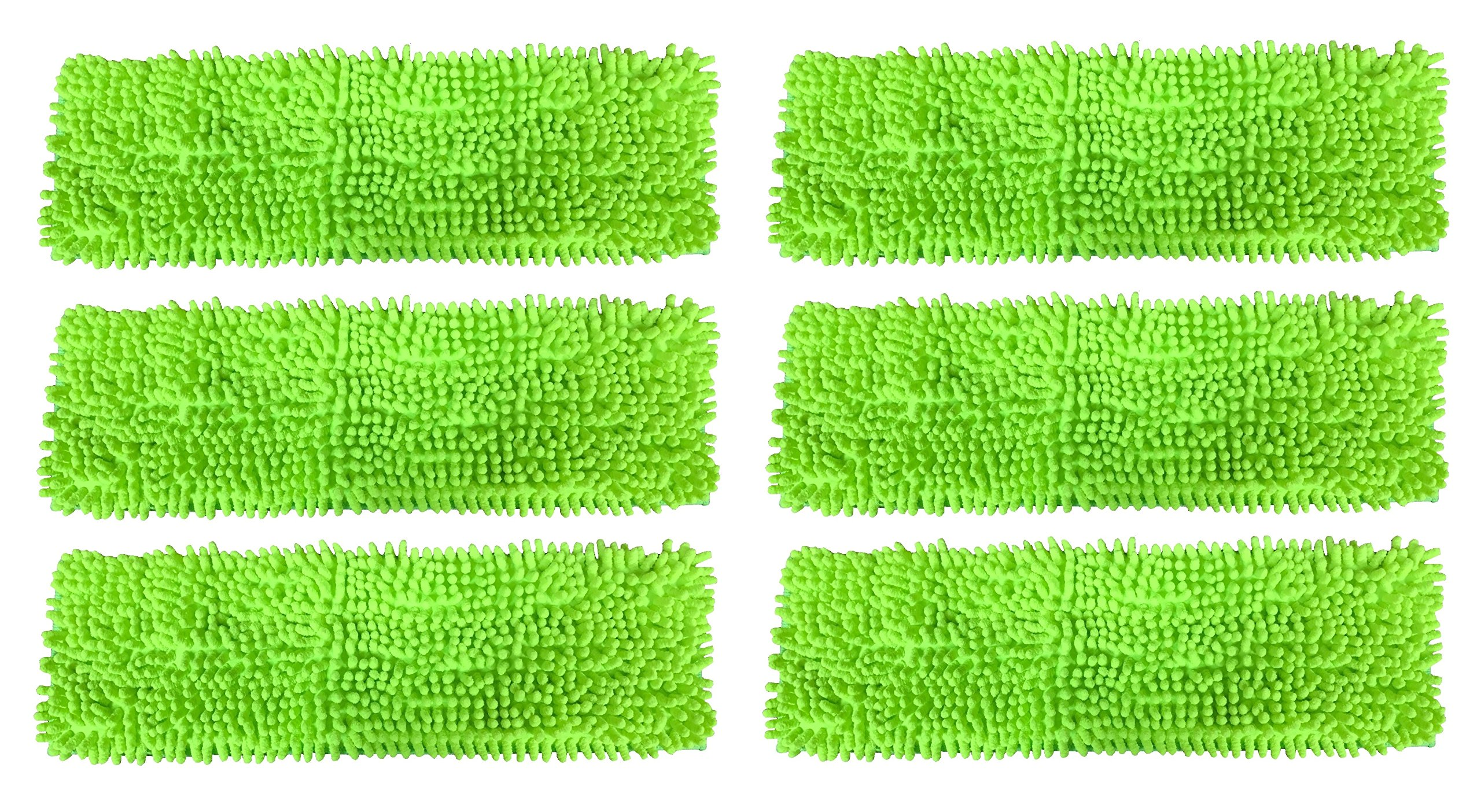Premium 16'' Inch Green Chenille Microfiber Wet/Dry Mop Pads for Household and Commercial Microfiber Mops (6) by Real Clean