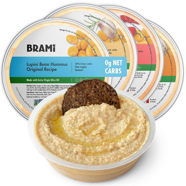 BRAMI Lupini Bean Hummus Dip & Spread | 0g Sugar, 0g Net Carbs | Keto, Vegan, Vegetarian, Mediterranean, Non-Perishable, Shelf-Stable, Low Carb, Low Calorie | 10oz (Variety, 4 Count)
