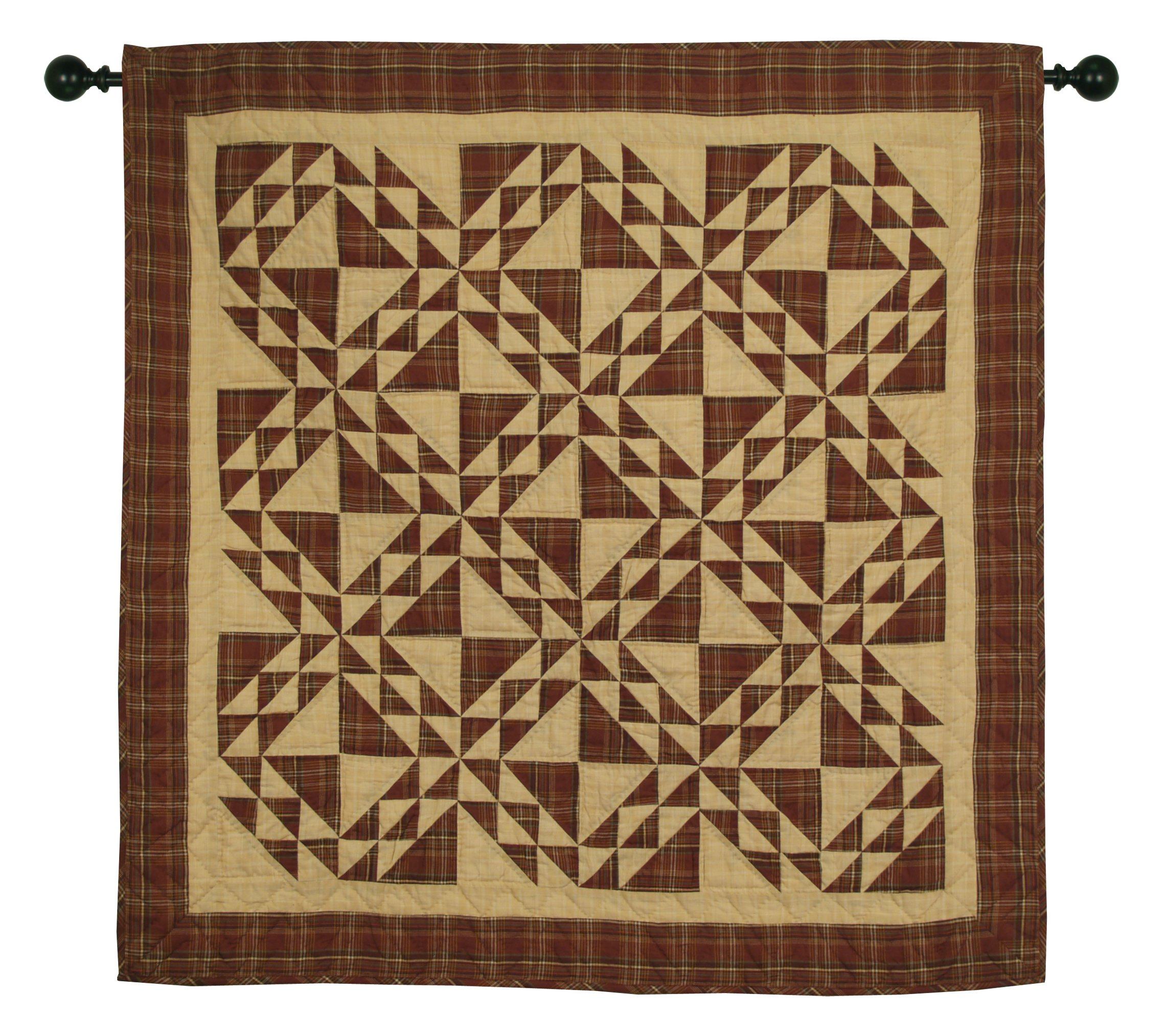 Colonial Patches Burgundy Wall Hanging Quilt 44 Inches by 44 Inches 100% Cotton Handmade Hand Quilted Heirloom Quality by Choices Quilts