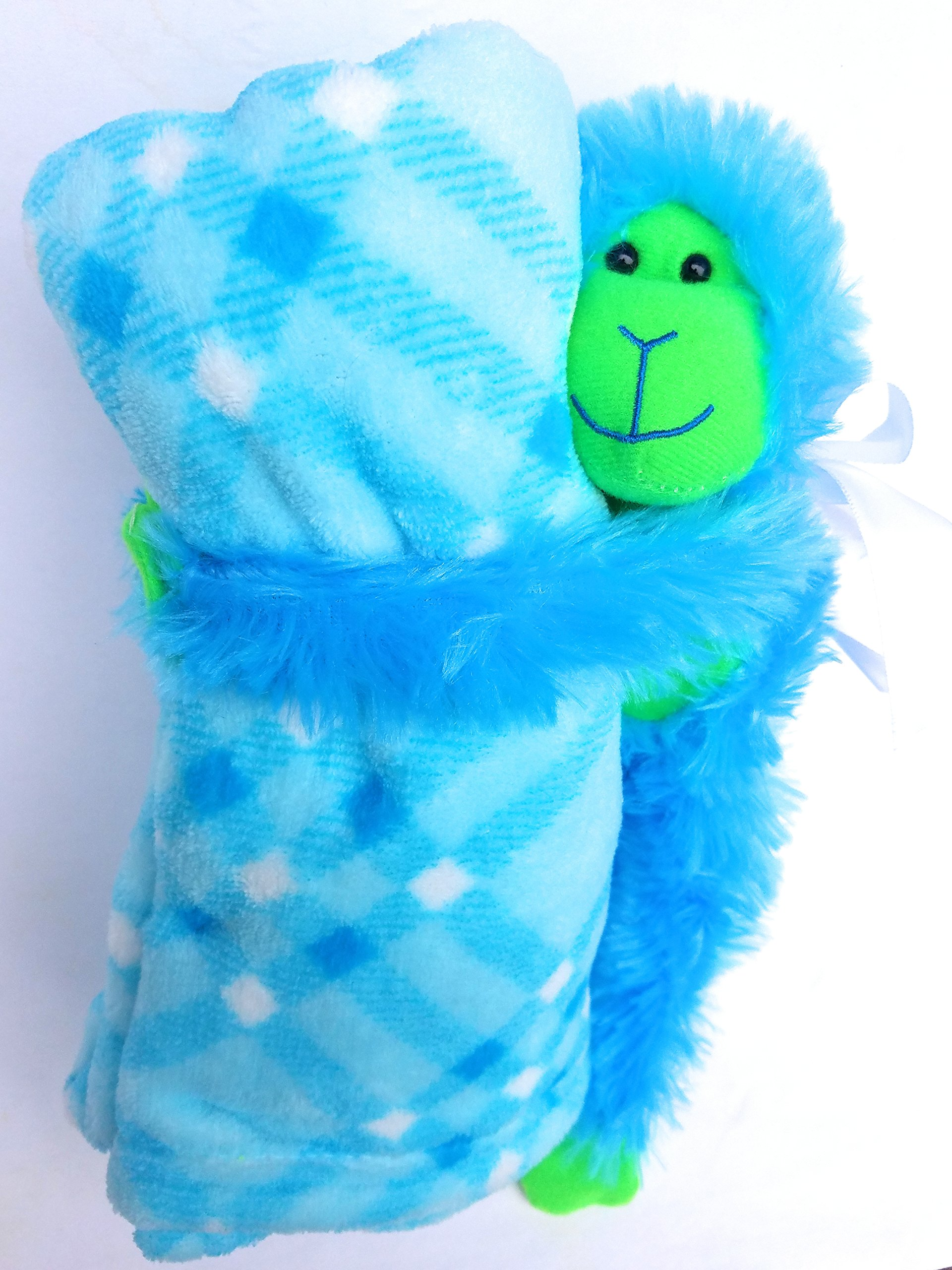 Stuffed Animal Monkey and Baby Blanket Gift Set, 2 Pieces, Baby Blue