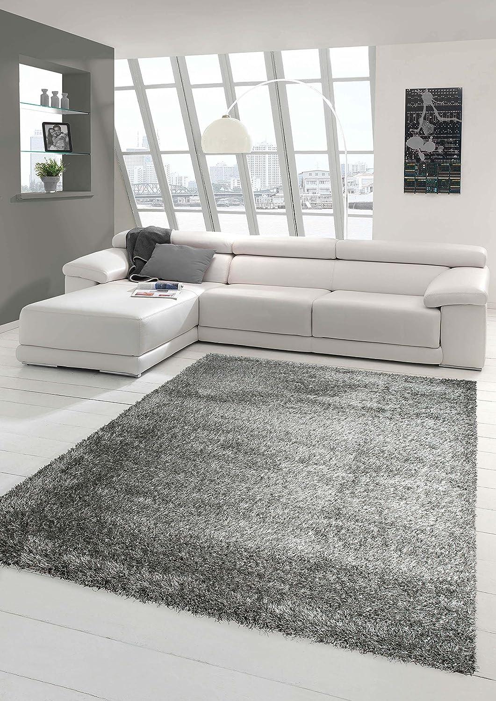 Shaggy Teppich Hochflor Langflor Teppich Wohnzimmer Teppich Gemustert in Uni Design Silber Grau Größe 200 x 290 cm