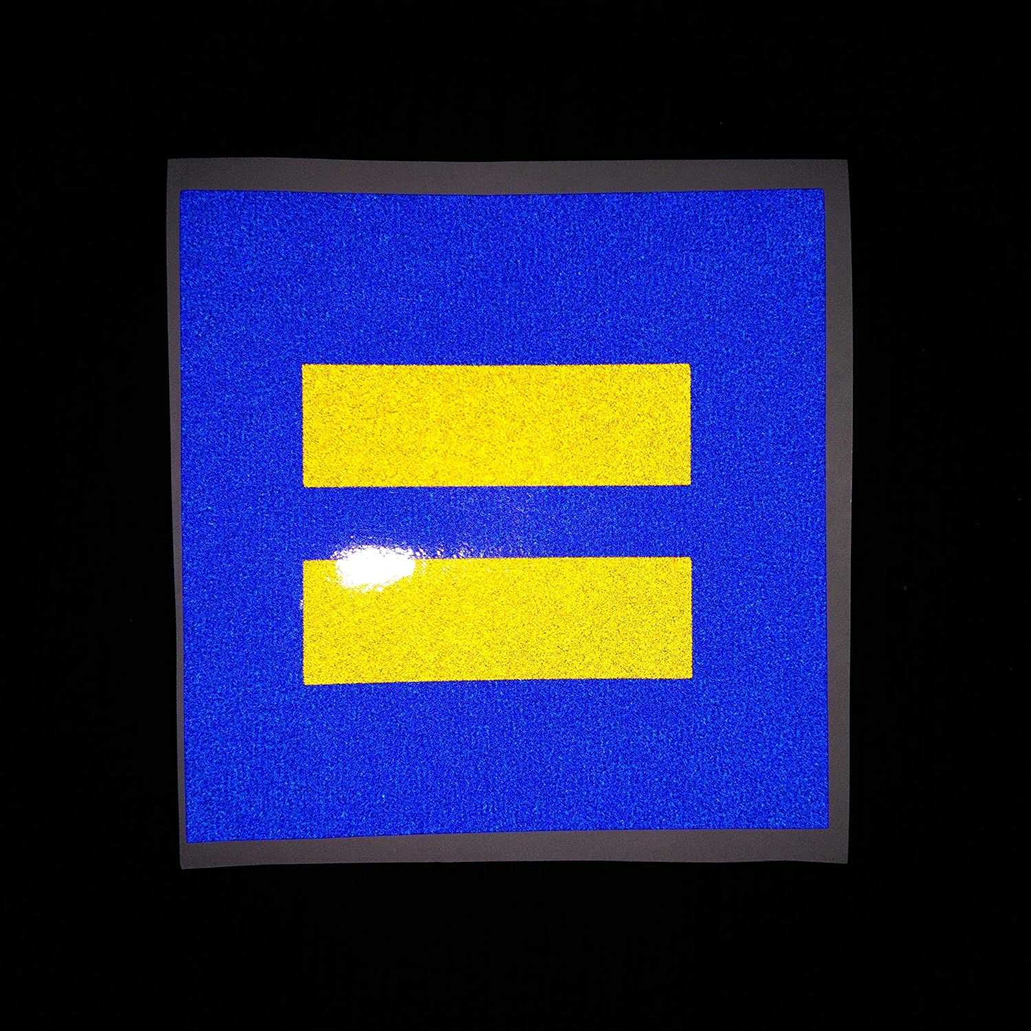 2x Equality 4 Support Love LGBT Pride Marriage Equal Blue Yellow Reflective Decal Decals Vinyl Sticker Safety Night Rear for Motorcycle Bike Bicycle Car Helmet Trunk Tailgate Laptop Notebook Window