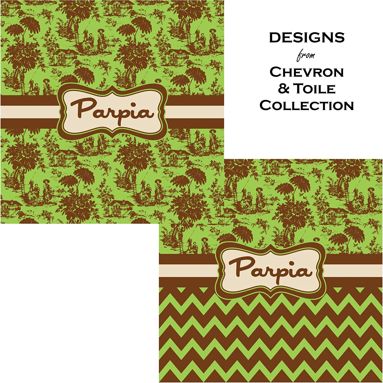 Front /& Back Green /& Brown Toile /& Chevron Classic Tote Purse w//Leather Trim Personalized