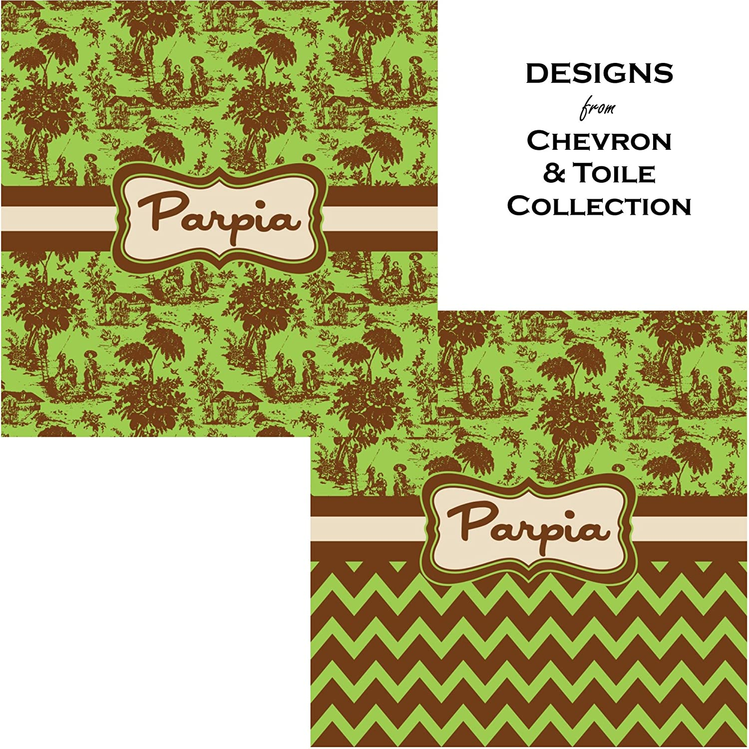 Personalized Green /& Brown Toile Genuine Leather Money Clip