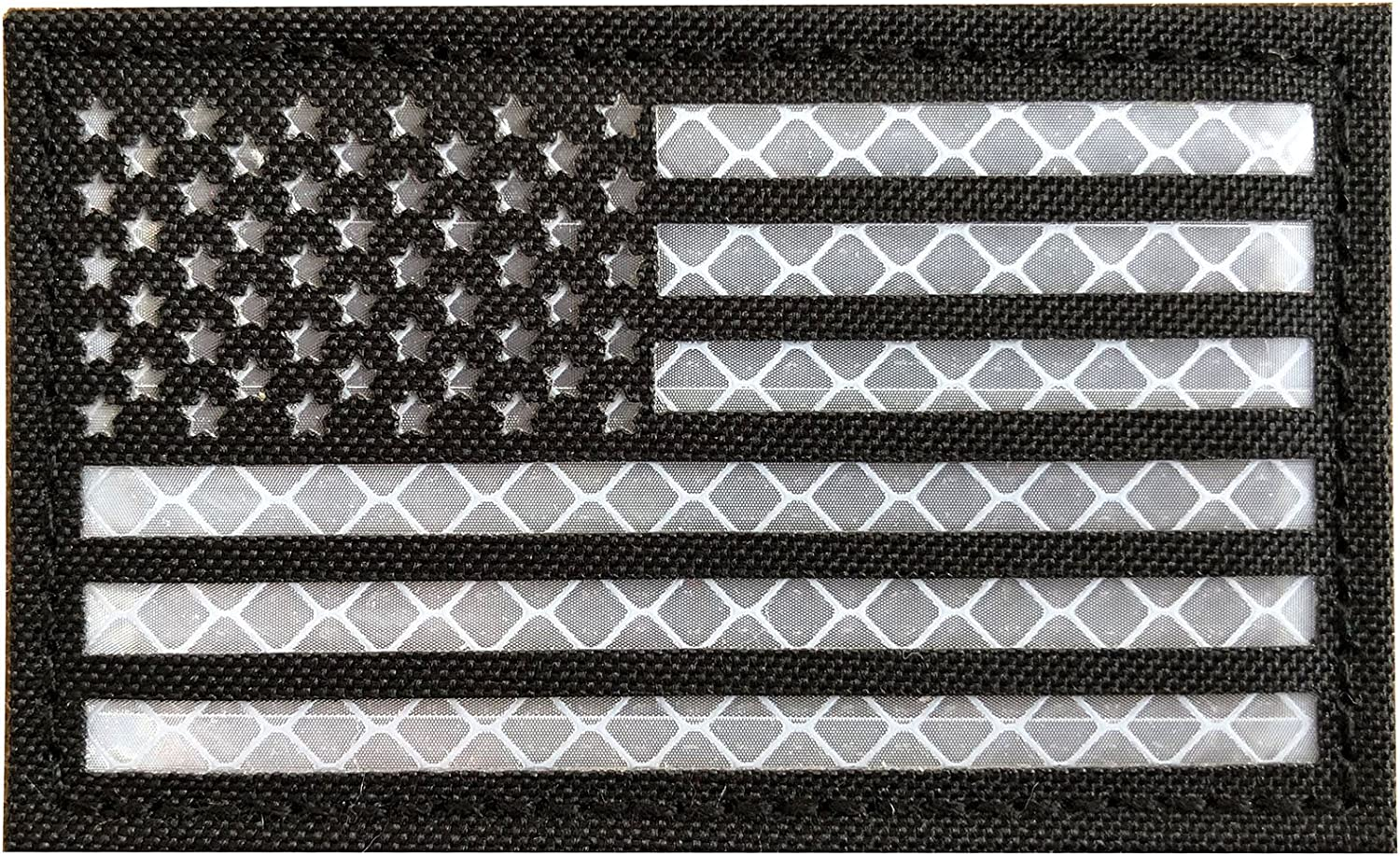 1 Pack 2x3.5 Reflective Black Orange US USA American Flag Morale Tactical Patches Hook-Fastener Backing