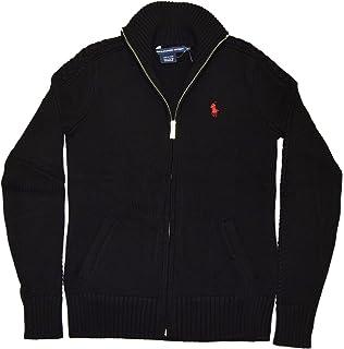 RALPH LAUREN Polo Sport Womens Full Zip Ribbed Cardigan Sweater Black Red XS bc3c3b3826