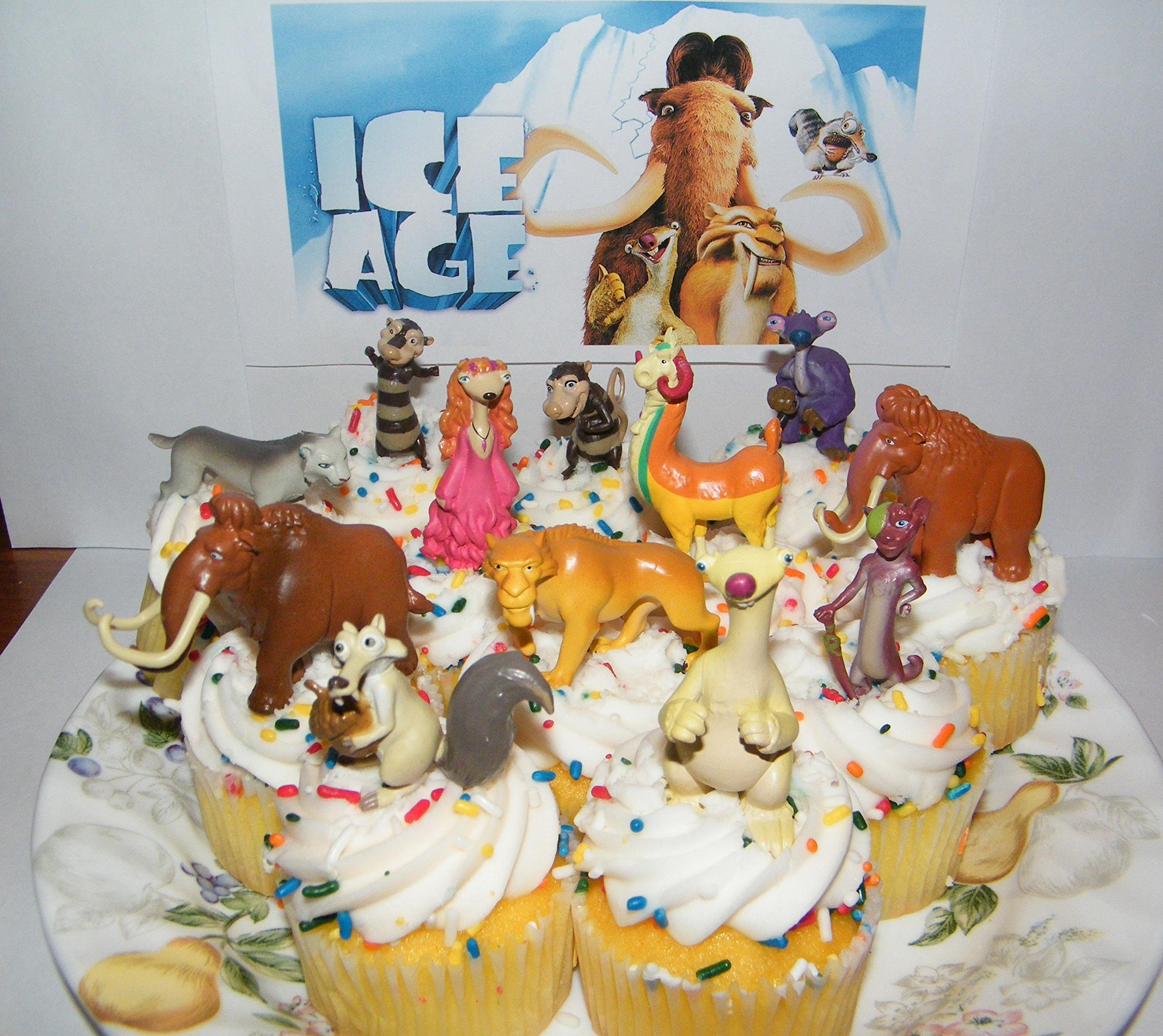 Ice Age Movies Deluxe Cake Toppers Cupcake Decorations Set of 13 Figures with Manny, Scat, Diego, Sid, Granny, the Possum Brothers and Many More!