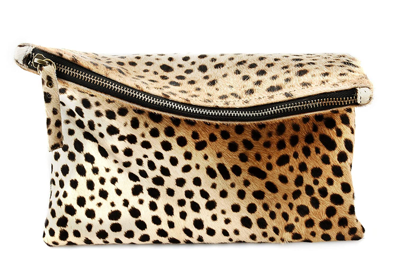35e0f4aef02e Amazon.com: Leopard Print Haircalf Fold over Clutch, Evening Handbag, One  Size, Women's Bags and Purses: Handmade