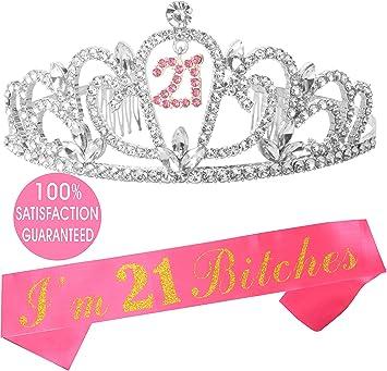 Amazon.com: MEANT2TOBE Tiara y lazo de 21 cumpleaños ...