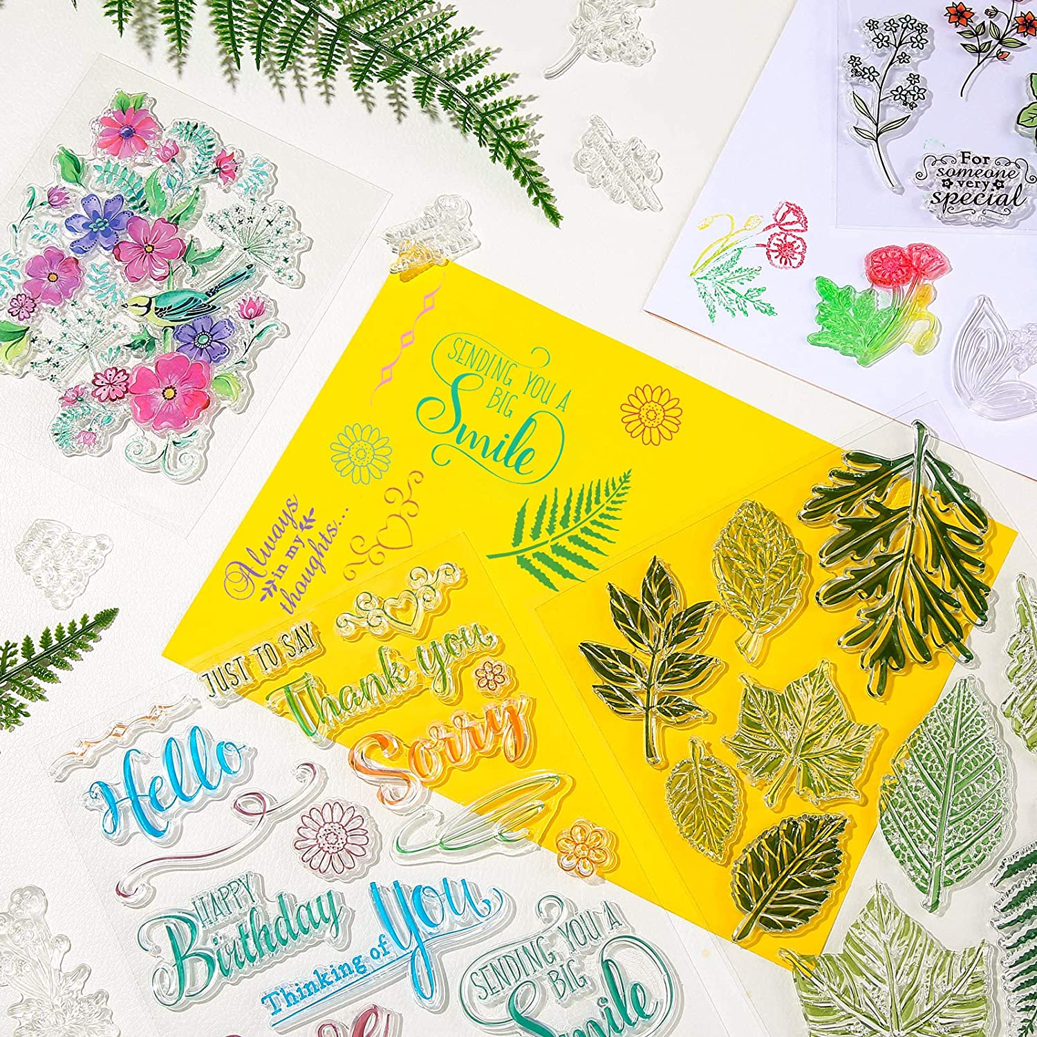 Clear Stamps Stamps 4 Pieces Crafts Words Clear Stamps Leaves ...