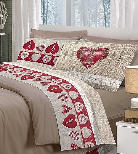 Completo Lenzuola In Flanella Letto Singolo Matrimoniale Cuori Shabby Chic Pois Duvet Covers Sets Bedding