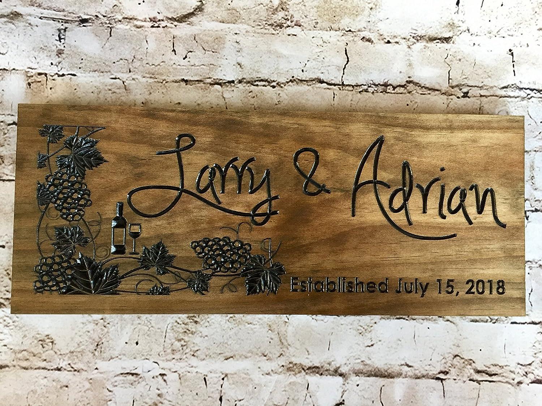 Norma Lily - Cartel de Madera con diseño de viñedos Personalizable para Regalos de Dama de Honor, Boda, Regalo de Boda, Signos de Vino, Uvas de viñedo: Amazon.es: Jardín